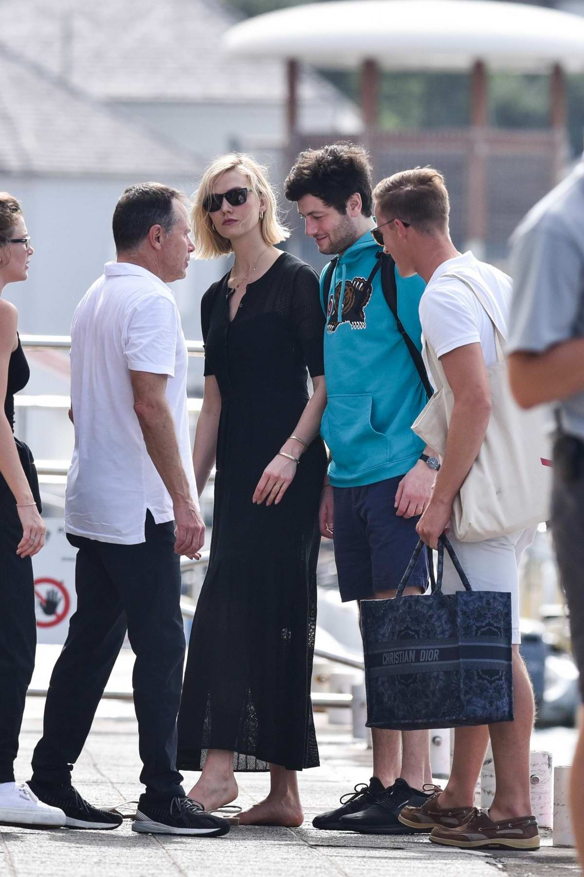 Karlie Kloss and Joshua Kushner depart after a relaxing few days on the mega yacht 'Rising Sun' in St Barts, France