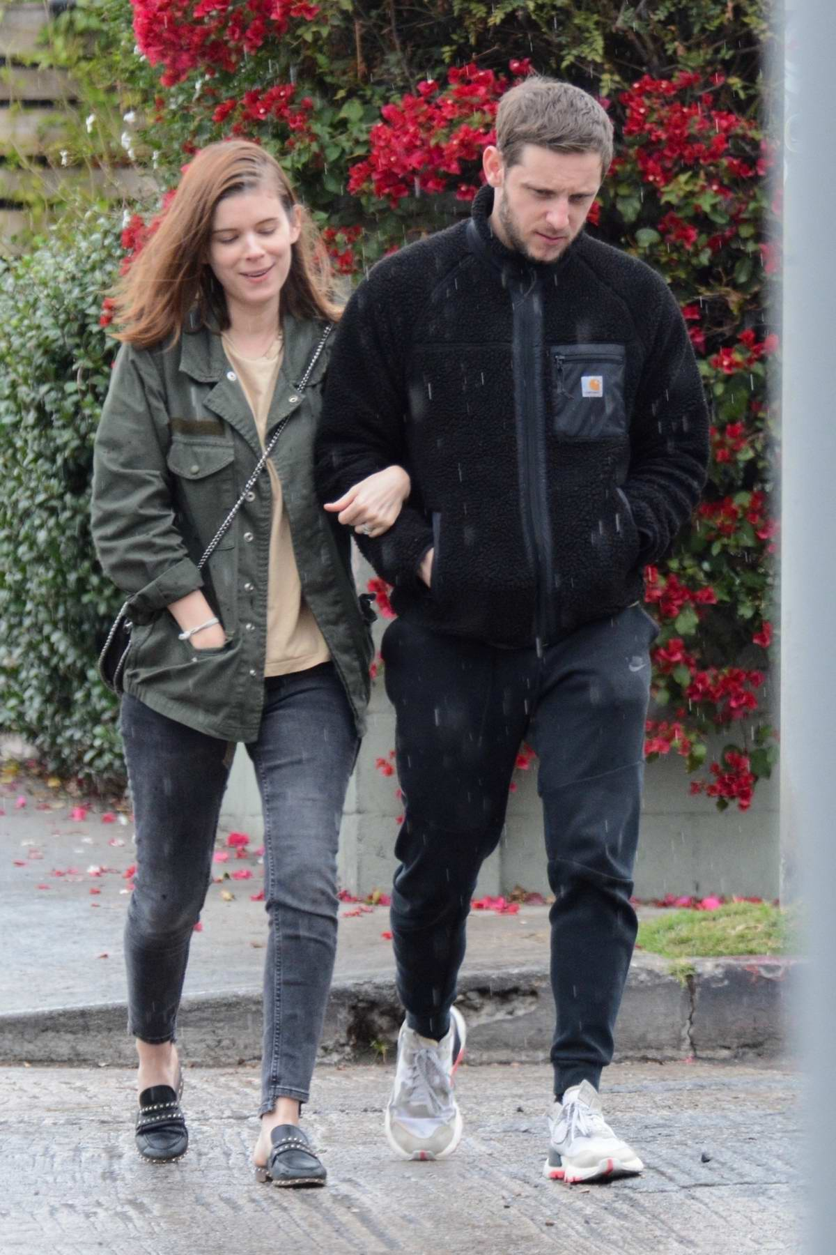 Kate Mara and Jamie Bell step out for a stroll on a rainy day in Los Angeles
