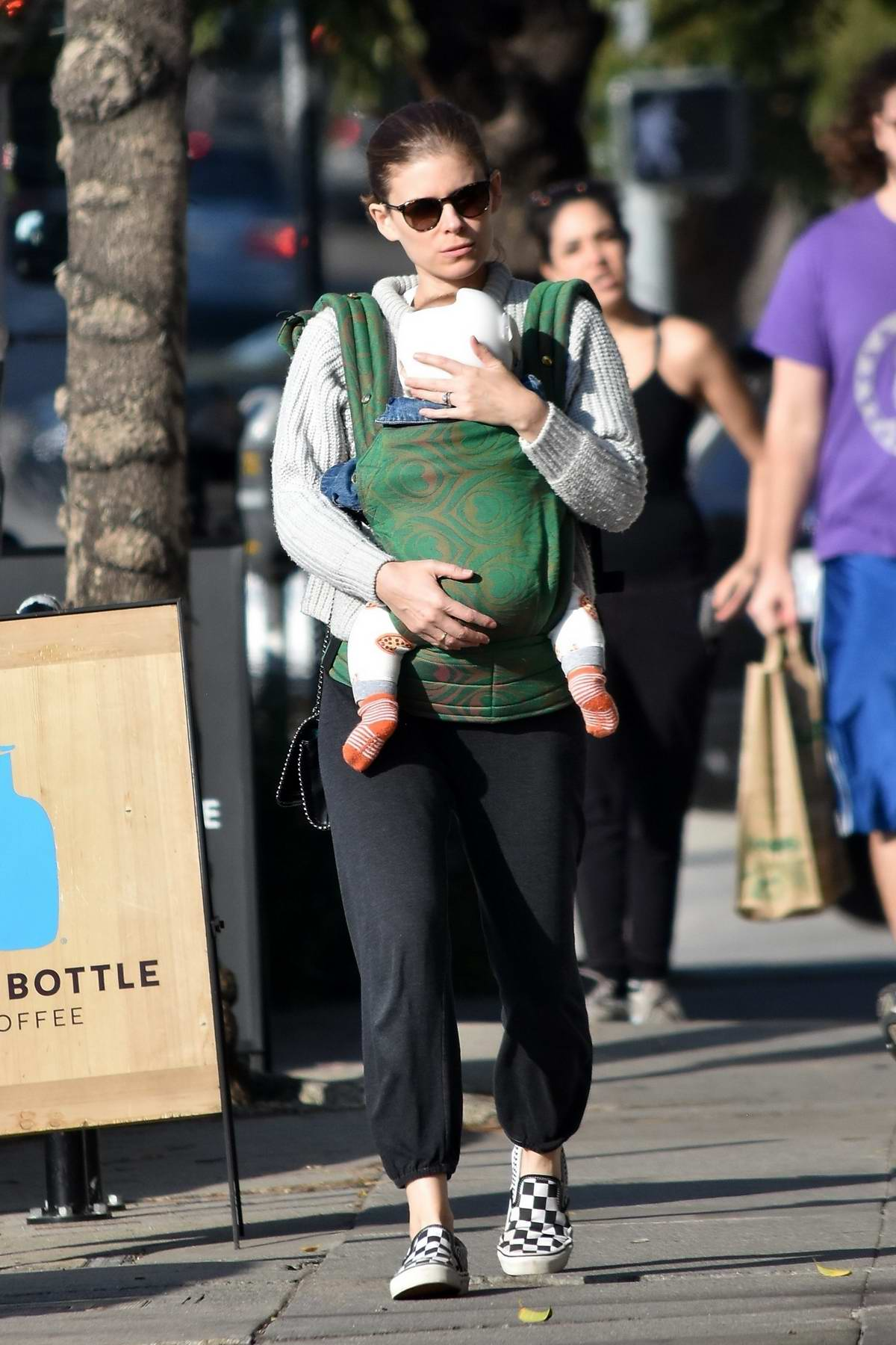 Kate Mara steps out for lunch with her baby daughter at All Time in Los Feliz, California