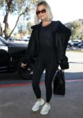 Khloe Kardashian sports all black as she leaves lunch at La Plata restaurant in Agoura Hills, California