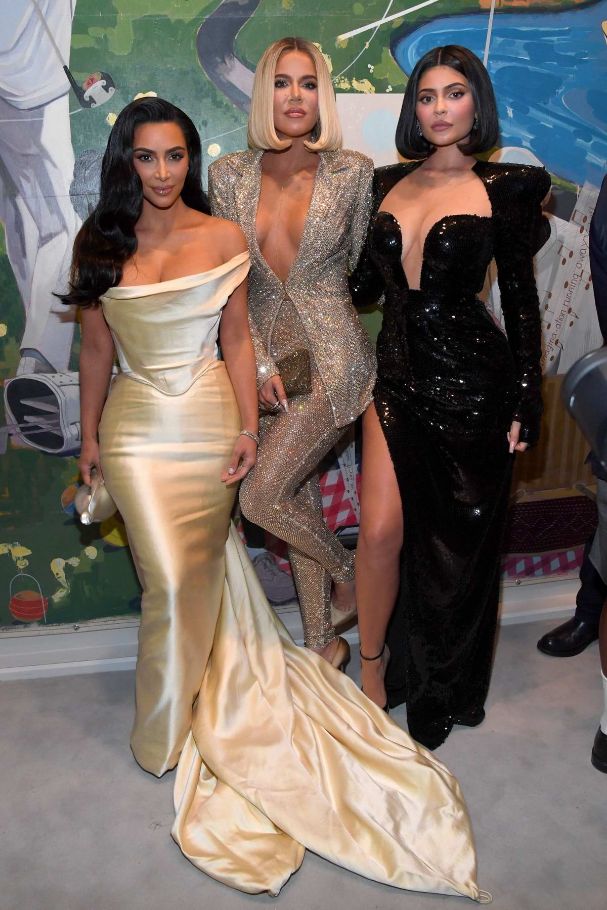 Kim Kardashian, Kylie Jenner, and Khloe Kardashian attend Sean Combs 50th Birthday Bash in Los Angeles