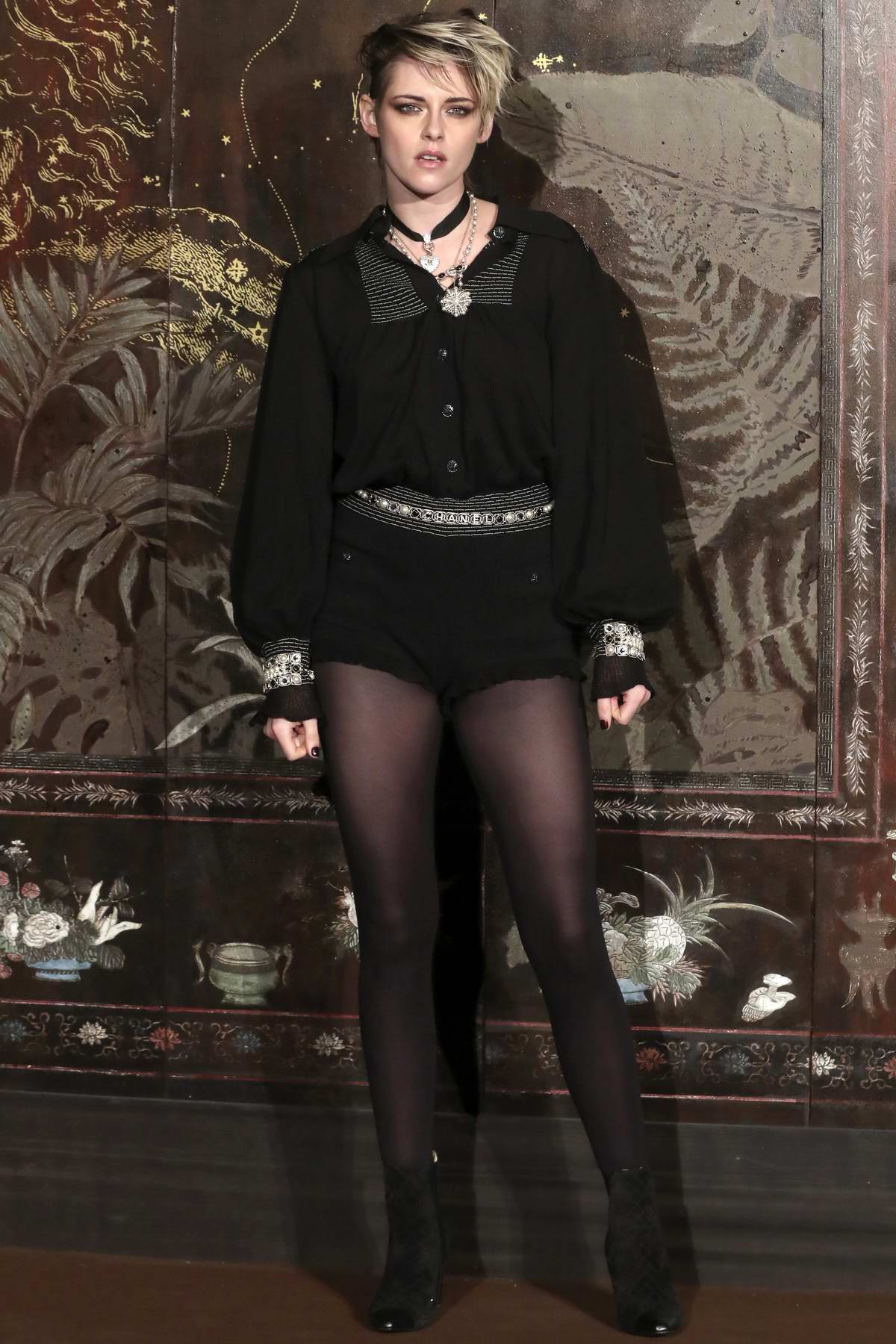 Kristen Stewart attends the Photocall of the Chanel Metiers d'art 2019-2020 Show at Le Grand Palais in Paris, France