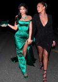 Kylie Jenner looks stunning in a green dress as she steps out with BFF Anastasia Karanikolaou in Los Angeles