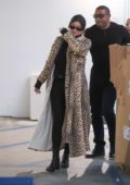 Kylie Jenner looks stylish in an animal print long coat as she goes Christmas shopping in Beverly Hills, Los Angeles