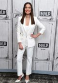 Lea Michele looks great in a white suit as she visits the Build Series in New York City