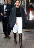 Lily Aldridge dressed for business as she heads to a meeting in New York City