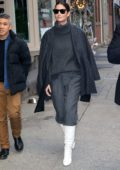 Lily Aldridge seen leaving her perfume pop up in New York City