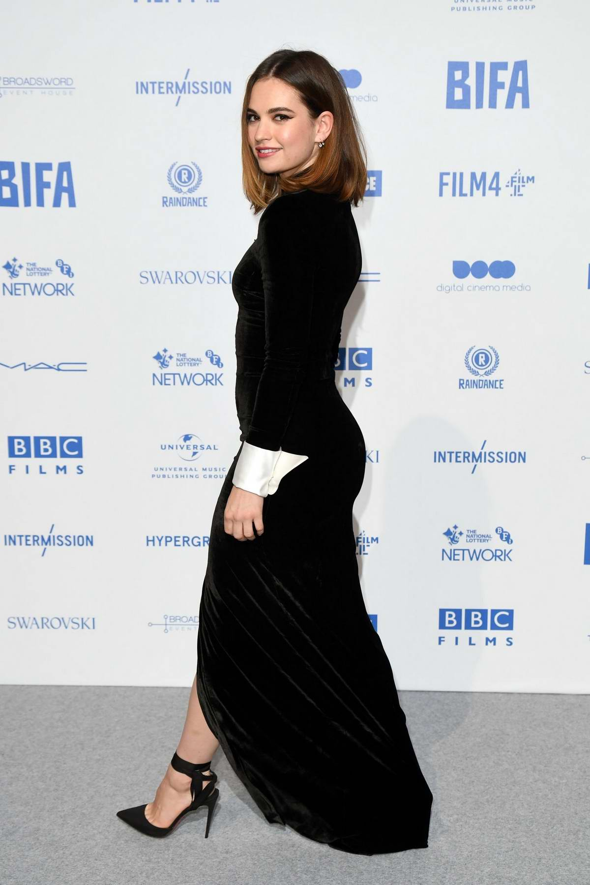 Lily James attends the British Independent Film Awards 2019 at Old Billingsgate in London, UK