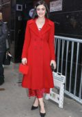 Lucy Hale looks striking in red as she stops by 'Good Morning America' in New York City