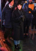 Lucy Hale seen filming for New Years Celebrations in Times Square, New York City