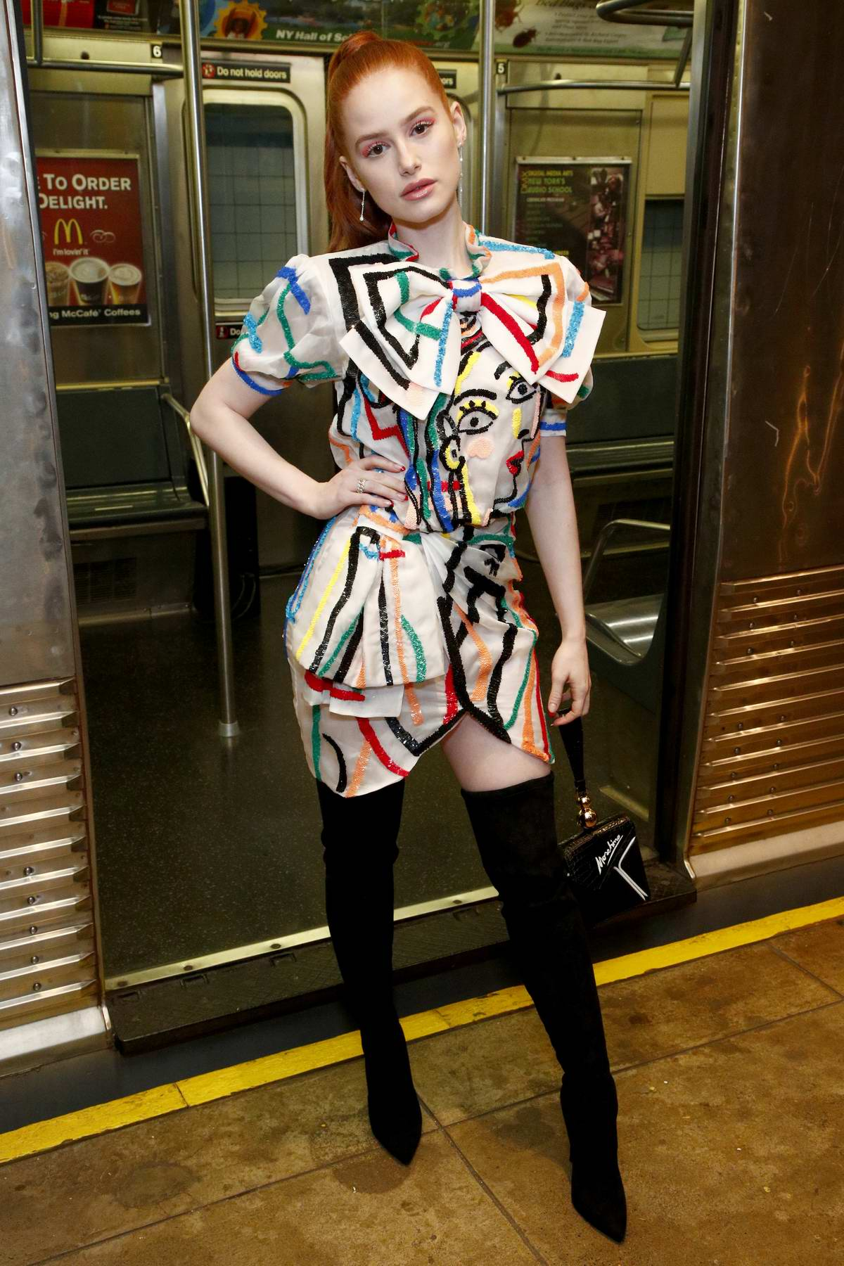 Madelaine Petsch attends Moschino Prefall 2020 Runway Show at New York Transit Museum in Brooklyn, New York City