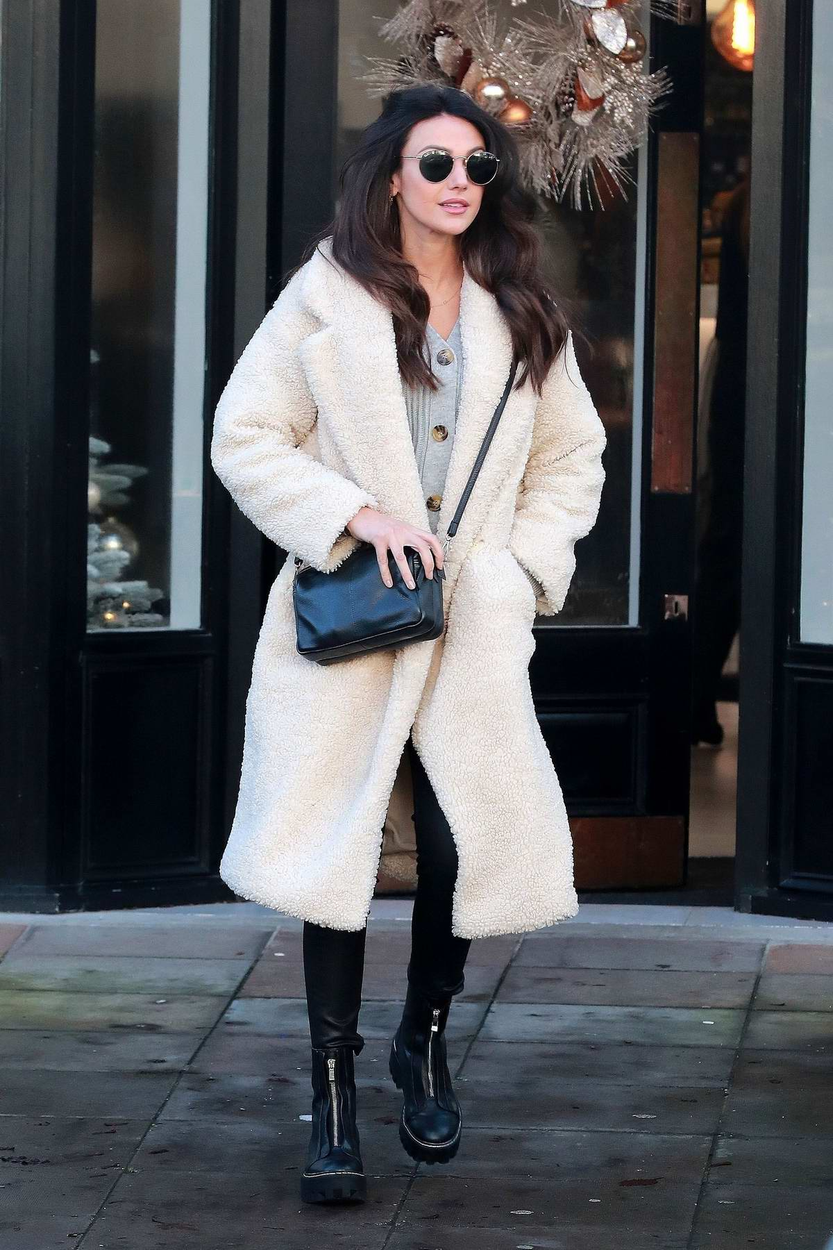 Michelle Keegan is all smiles as she leaves Terrance Paul Salon in Hale, Cheshire, UK