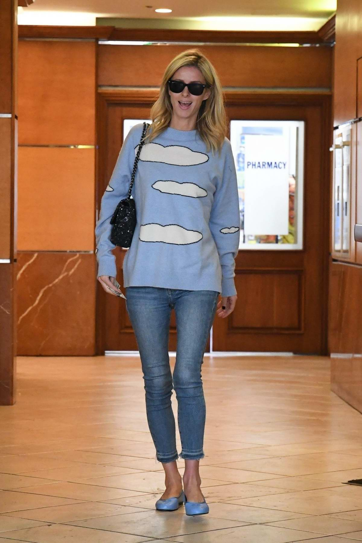 Nicky Hilton keeps it casual for a lunch outing at E Baldi in Beverly Hills, California