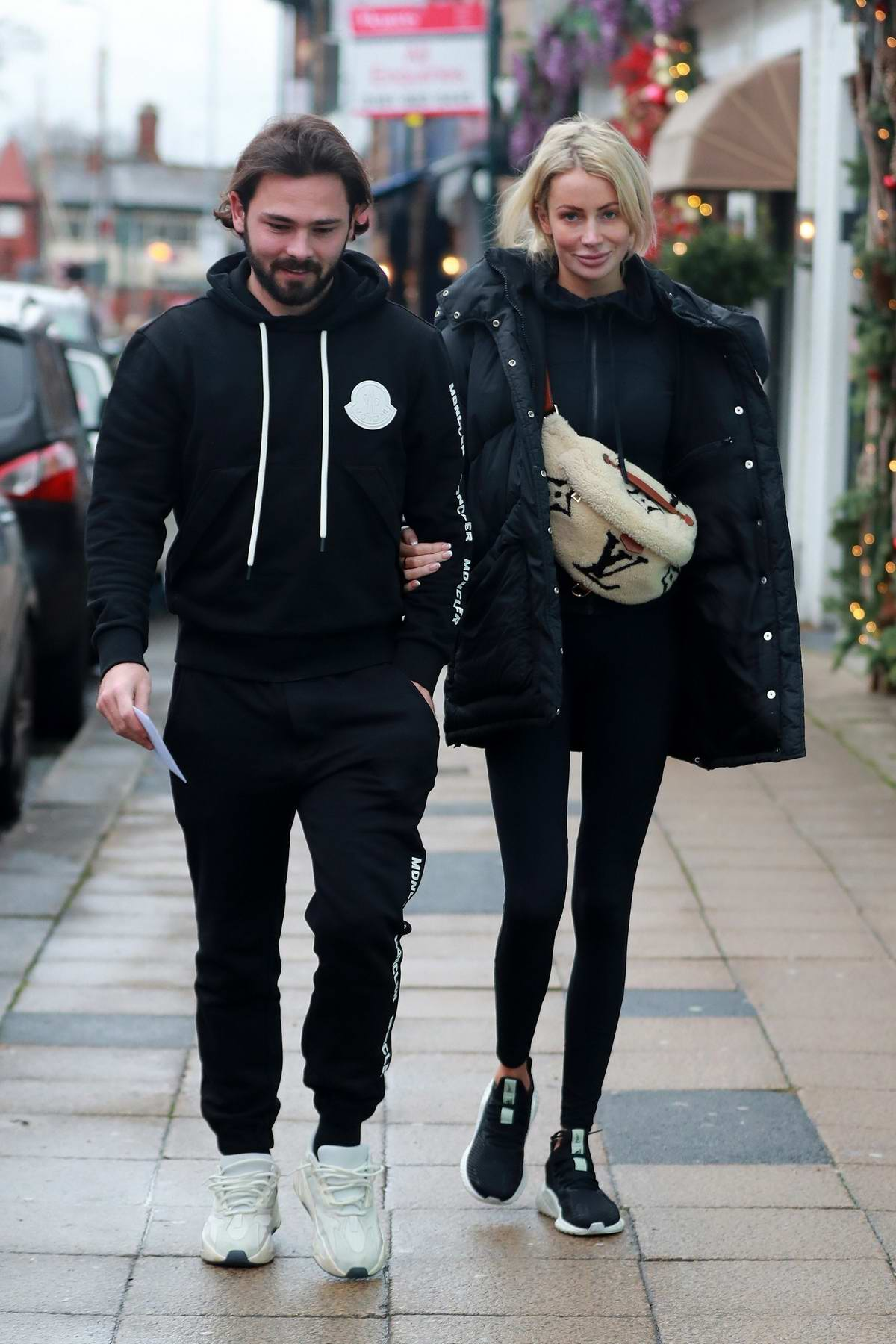Olivia Attwood and fiancé Bradley Dack seen out for lunch at Victors Restaurant in Hale, Cheshire, UK