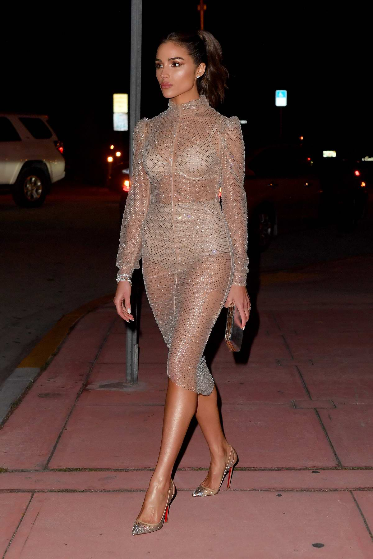 Olivia Culpo stuns in a sheer dress as she steps out in Miami Beach, Florida
