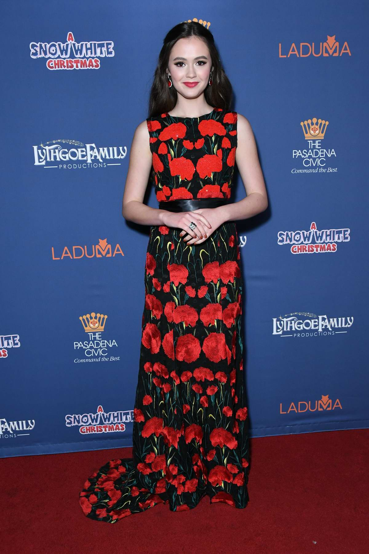 Olivia Sanabia attends 'A Snow White Christmas' Opening Night Event at Pasadena Civic Auditorium in Pasadena, California
