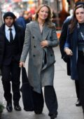 Olivia Wilde looks slick in a long grey coat at the Directors Guild of America in New York City