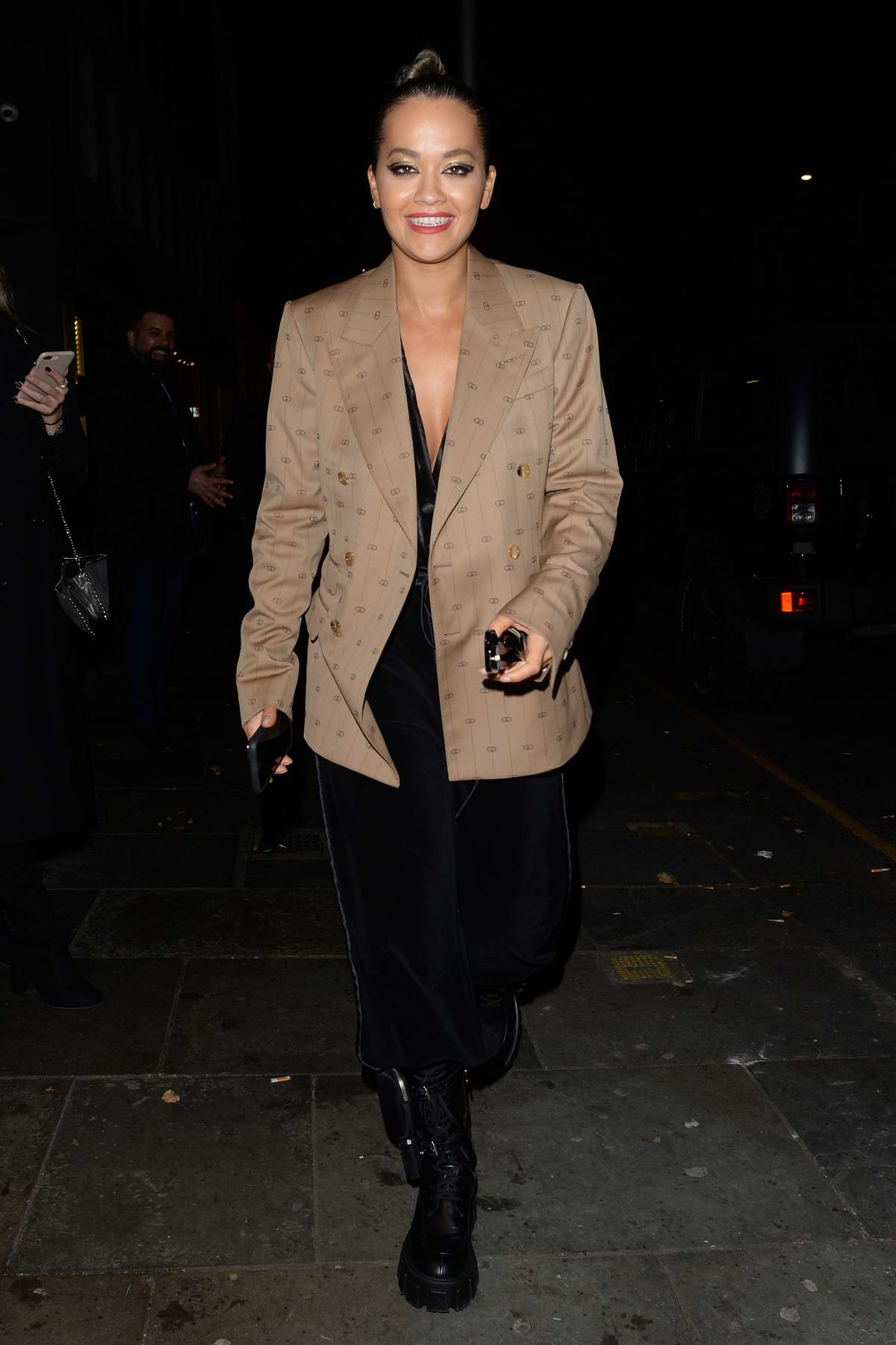 Rita Ora seen leaving Ours restaurant in Kensington, London, UK