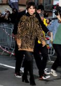Selena Gomez rocks an animal print sweater dress as she leaves NRJ radio station in Paris, France