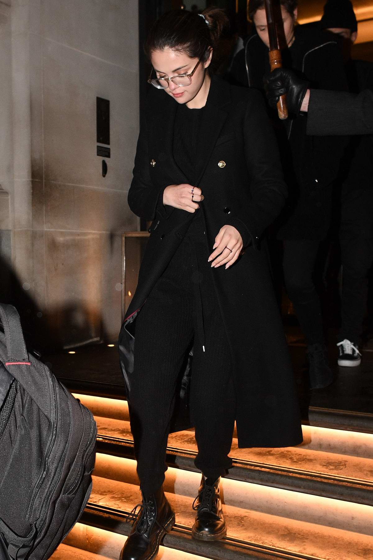 Selena Gomez seen leaving her hotel wearing an all black outfit in London, UK