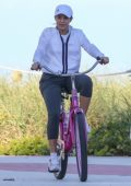 Shakira and Gerard Piqué spotted while riding bicycles with their kids in Miami Beach, Florida