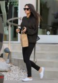 Shay Mitchell looks great in a dark sweater and black jeans as she leaves a beauty salon in West Hollywood, Los Angeles