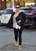 Shay Mitchell spotted in a grey hoodie, black jacket and leggings as she leaves after a pedicure in Los Angeles