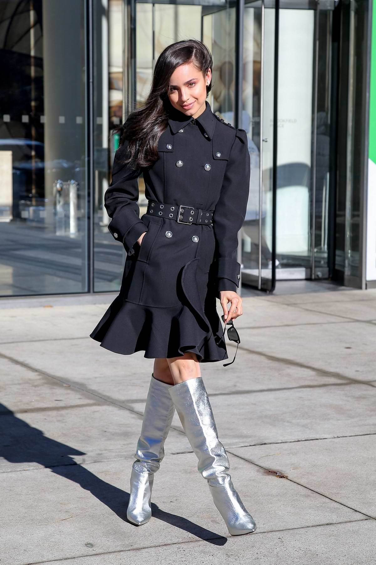 Sofia Carson seen rocking a pair of silver boots in New York City