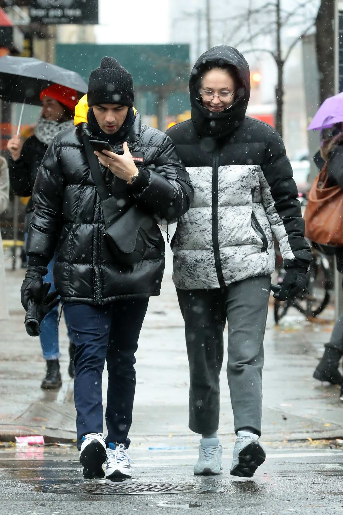 Sophie Turner and Joe Jonas brave the cold weather as they step out on a snowy day in New York City