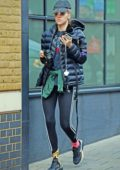 Suki Waterhouse wears a puffy jacket and leggings as she steps out in London, UK