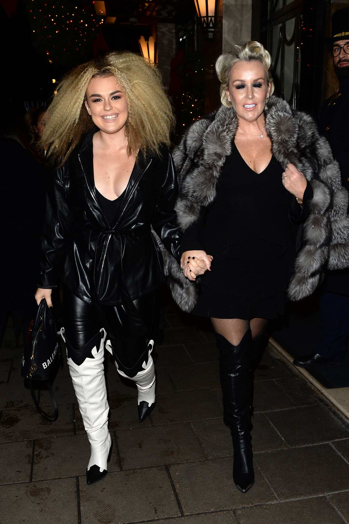 Tallia Storm is all smiles as she leaves Claridges Hotel with her mother Tessa Hartman in London, UK