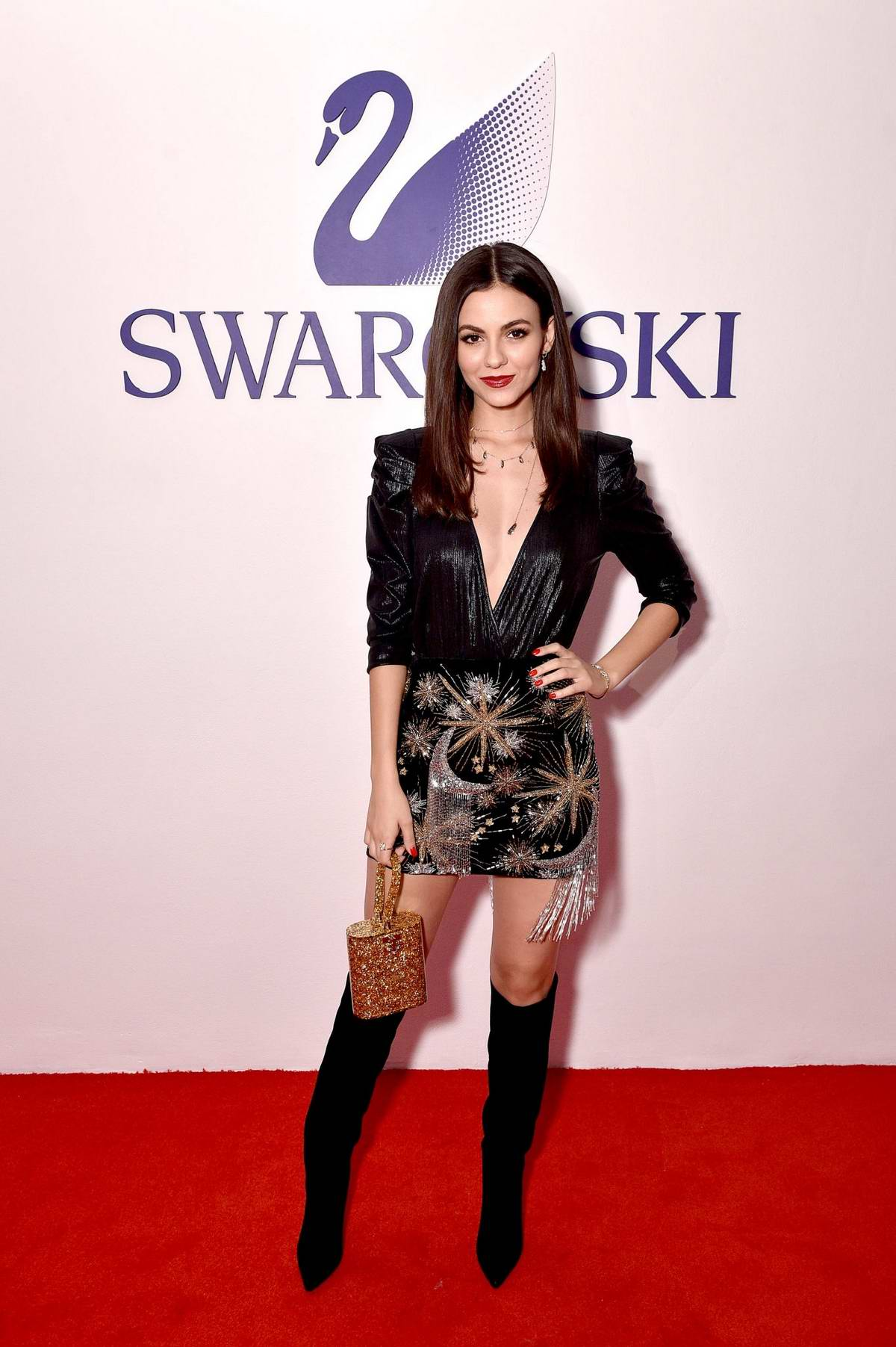 Victoria Justice attends the Swarovski's Naughty or Nice Holiday Celebration in New York City