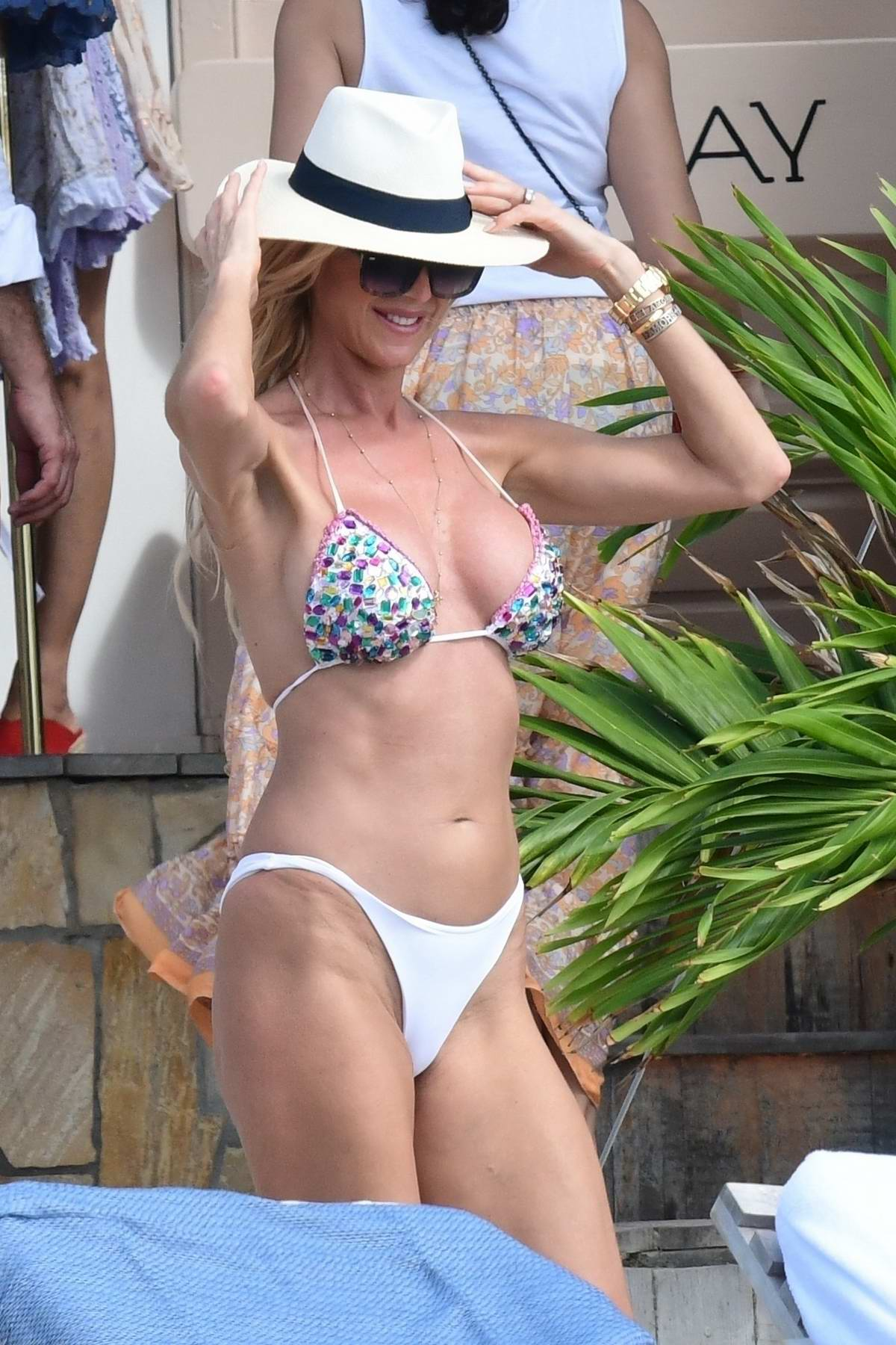 Victoria Silvstedt dons a sequin bikini as she enjoys a day on the beach during her yearly holiday in St Barts, France