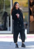 Zoe Saldana enjoys a refreshing beverage while out for some shopping at the Beverly Glen Mall in Los Angeles
