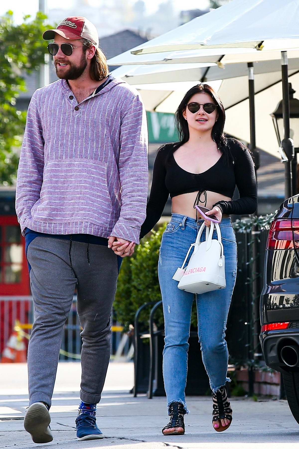 Ariel Winter and Luke Benward hold hands as they step out for lunch at Patty's in Burbank, California