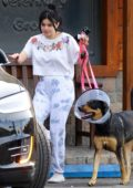 Ariel Winter leads one of her dogs back to her car after visiting the vet in Studio City, California