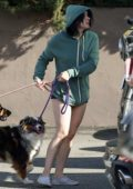 Ariel Winter wears a hoodie and denim cut-offs as she takes dogs for a walk in Los Angeles