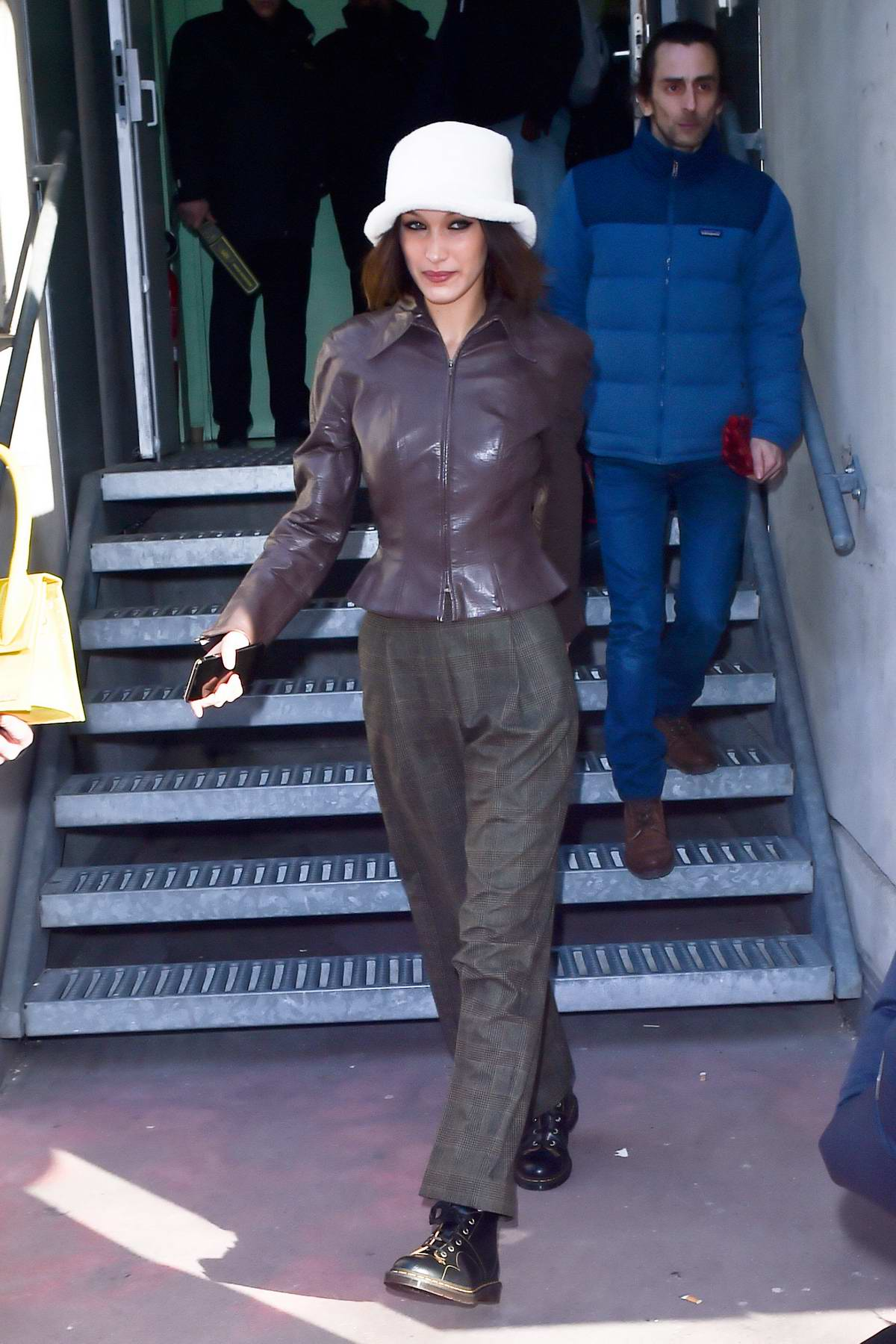 Bella Hadid seen wearing a white hat and leather jacket while out during Fashion Week 2020 in Paris, France