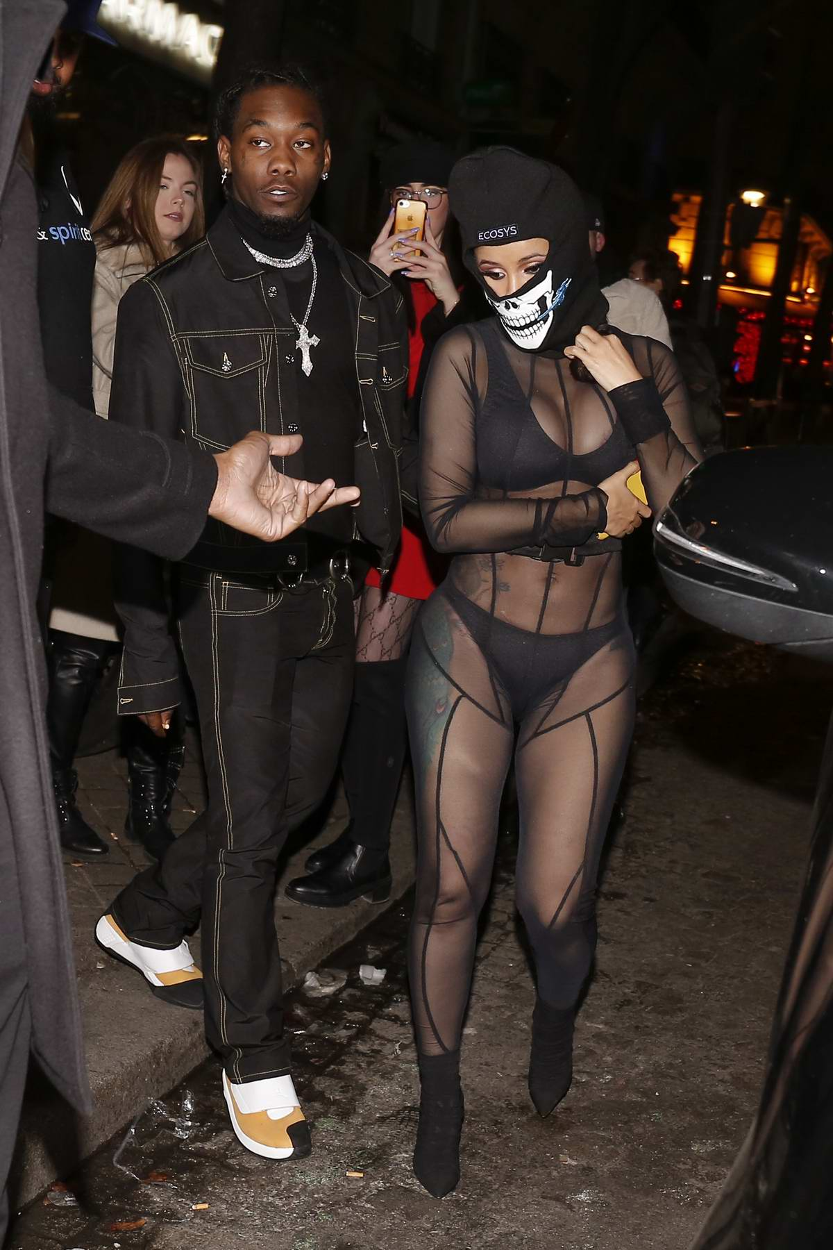 Cardi B arrives at Laundered Works corp show during Paris Fashion Week in Paris, France