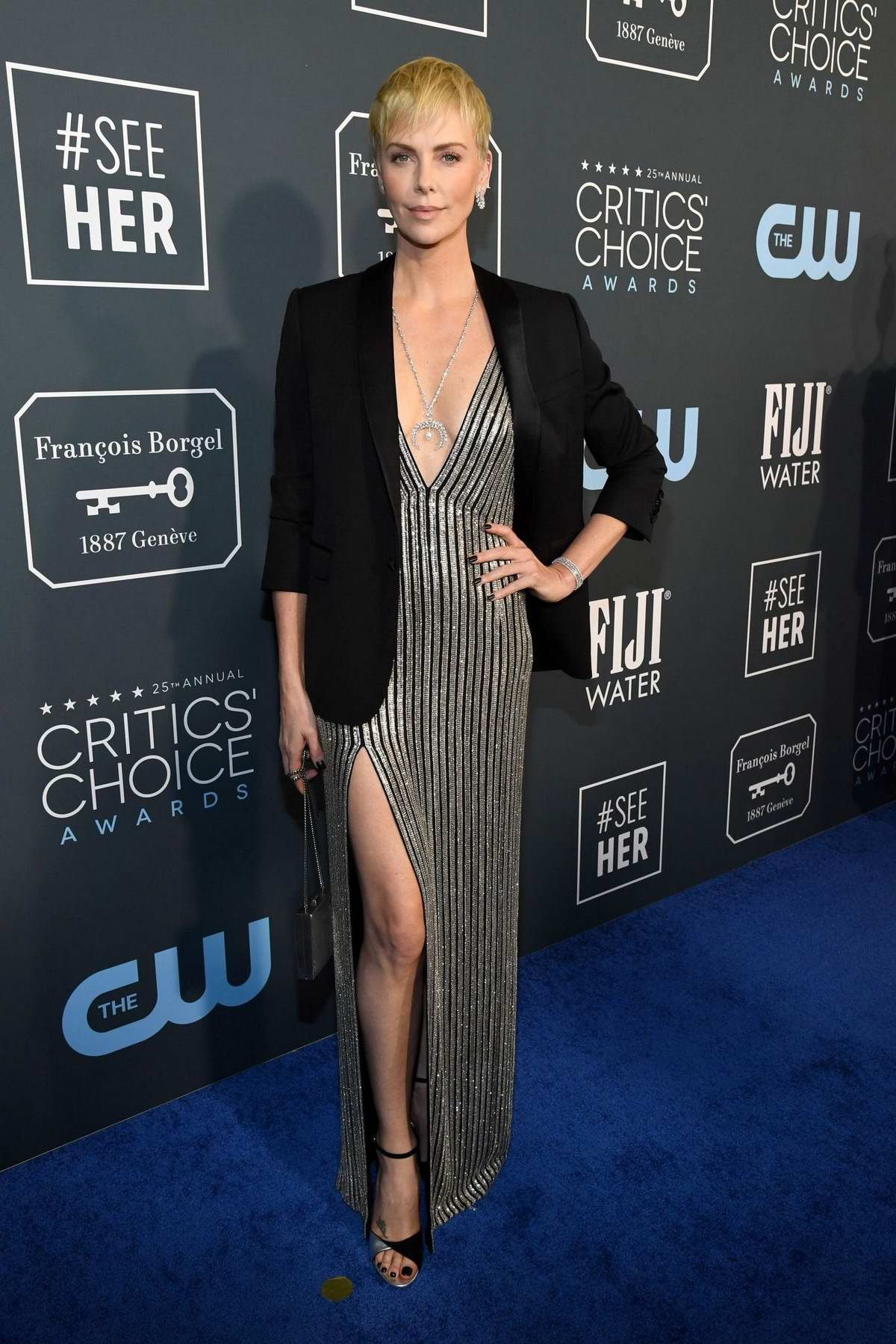 Charlize Theron attends the 25th Annual Critics' Choice Awards at Barker Hangar in Santa Monica, California