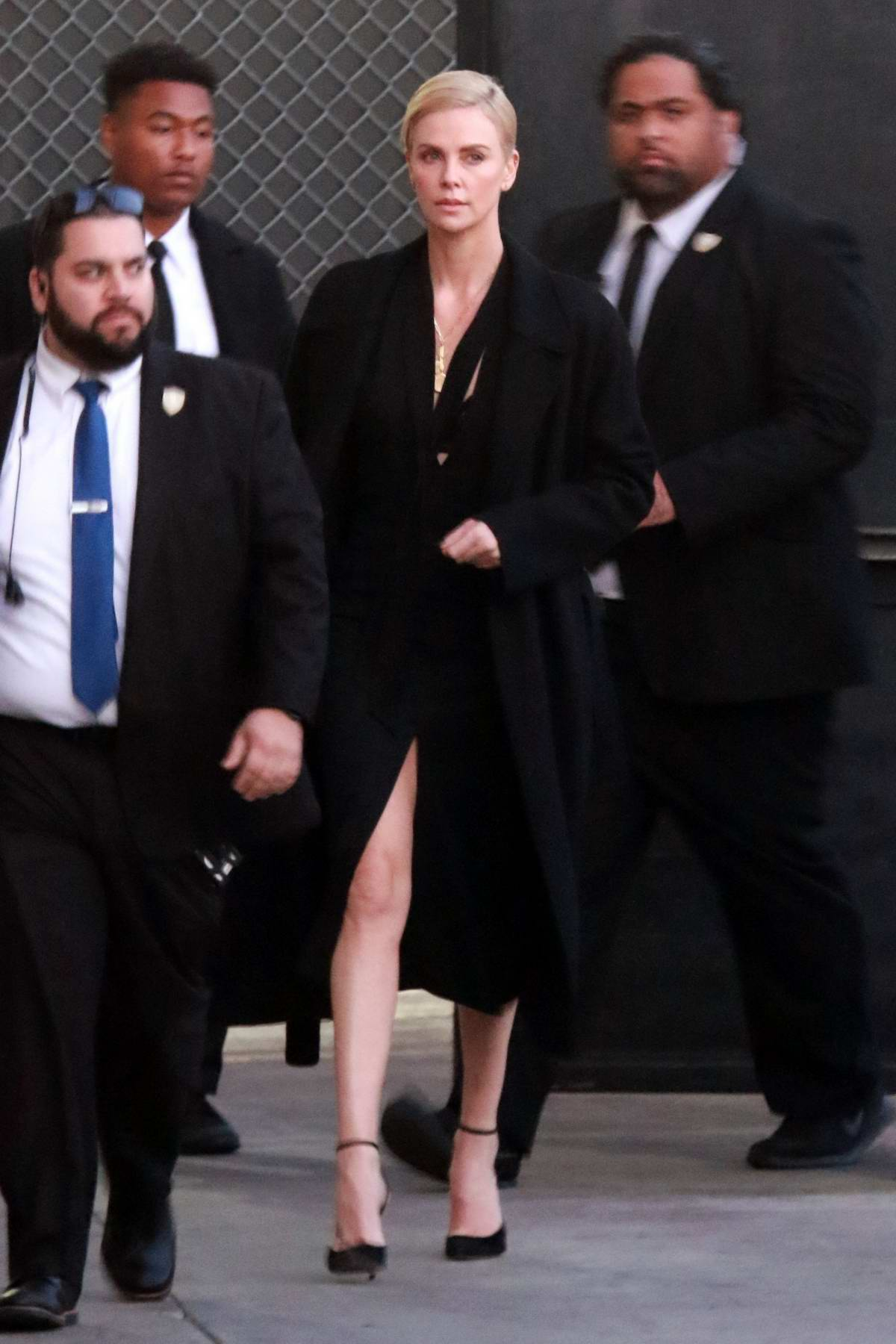 Charlize Theron spotted in all-black as she arrives for the' Jimmy Kimmel Live!' in Hollywood, California