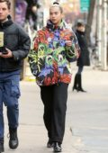 Dua Lipa spotted in a colorful jacket as she walks home with a friend in New York City