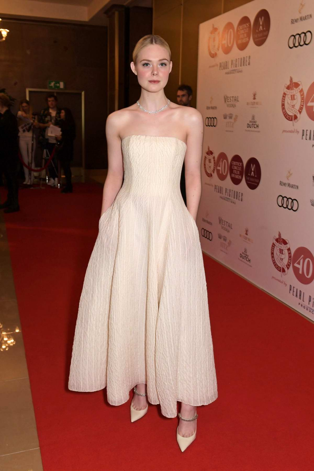 Elle Fanning attends the 40th London Film Critics' Circle Awards in London, UK
