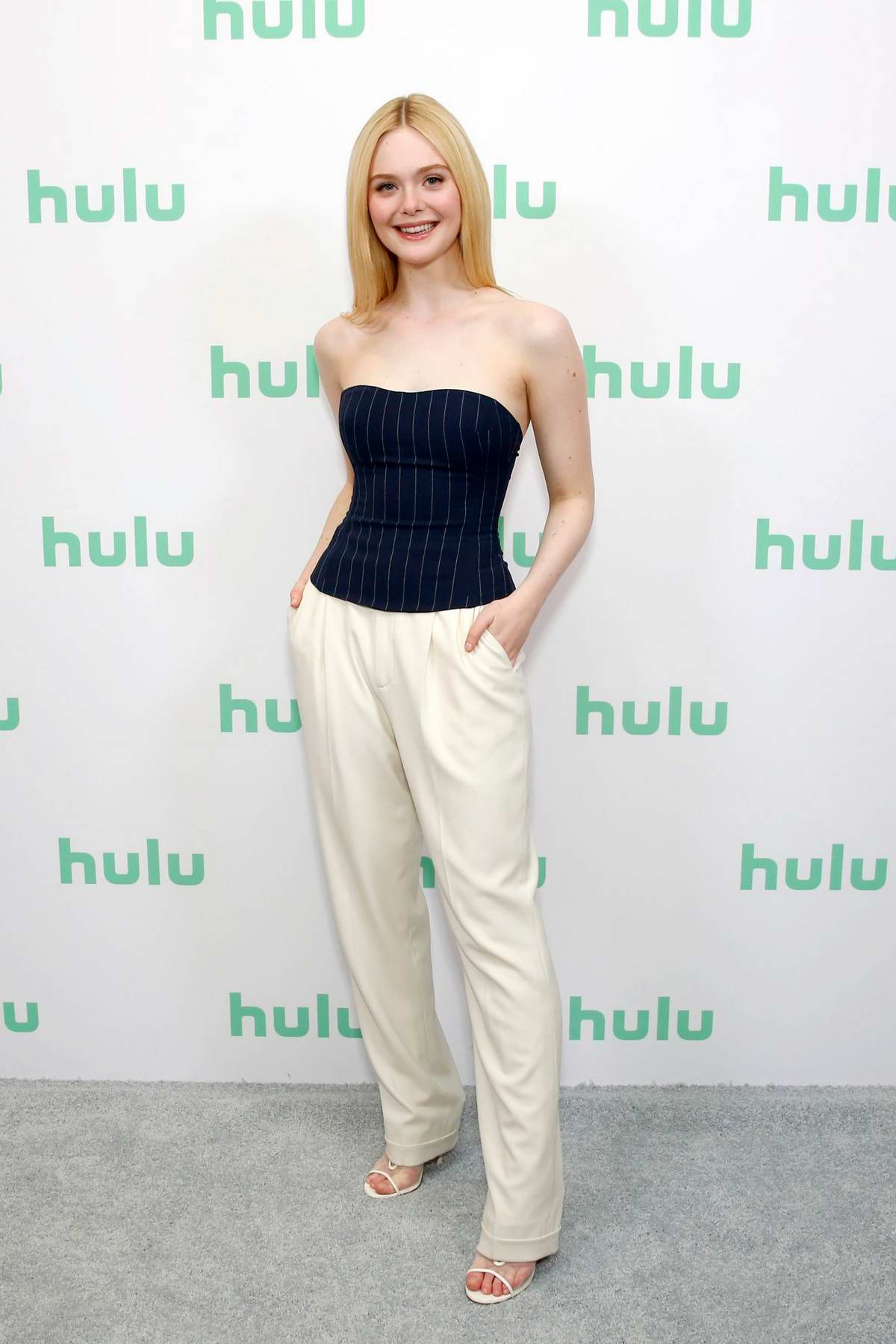Elle Fanning attends the Hulu Winter TCA 2020 panel at The Langham in Pasadena, California