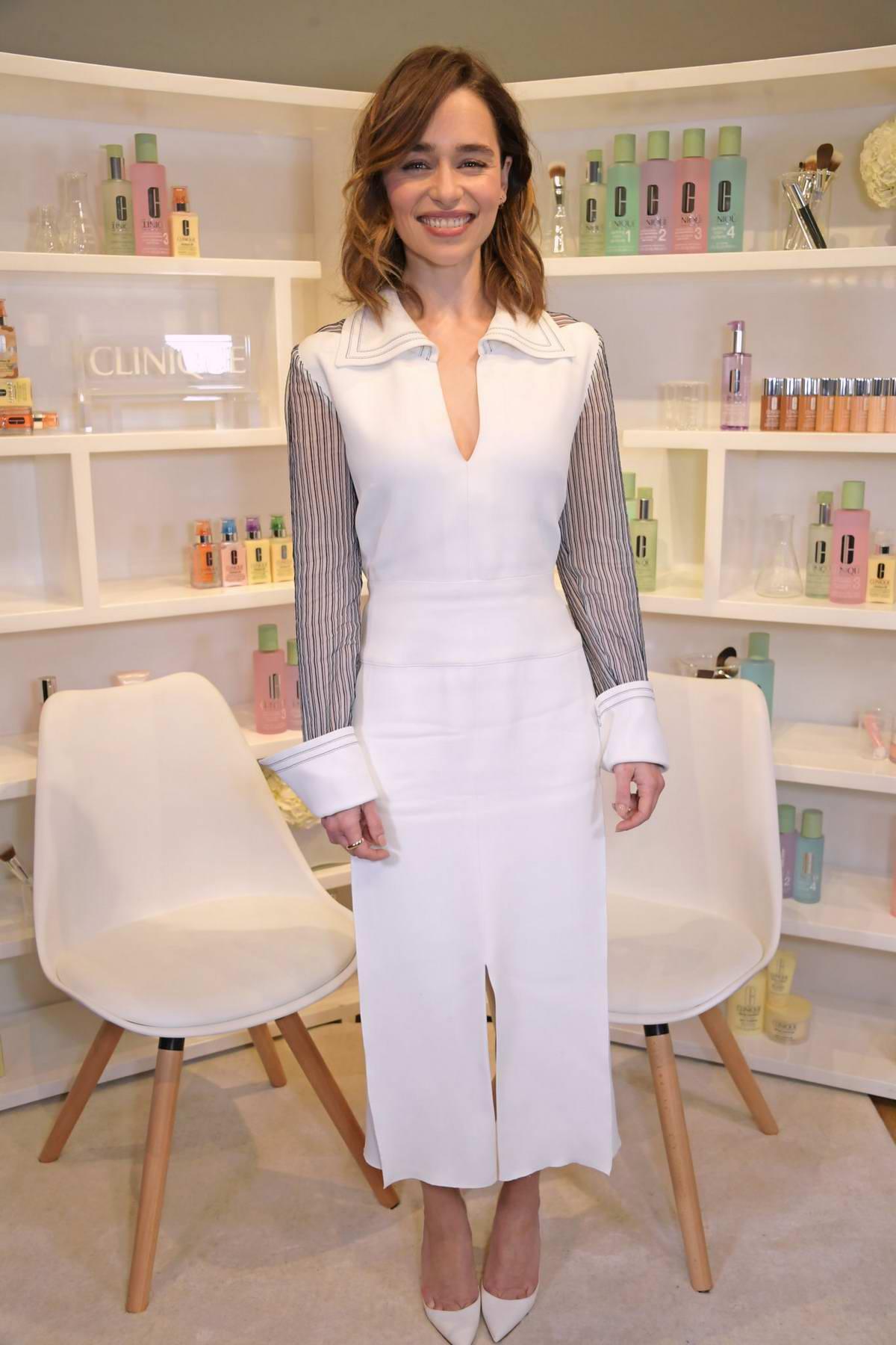 Emilia Clarke attends a Clinique iD event in London, UK