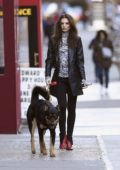 Emily Ratajkowski keeps it stylish as she steps out for a stroll with her dog in New York City