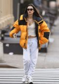 Emily Ratajkowski rocks bright yellow jacket with a crop and sweatpants as she heads to work in New York City