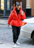 Emily Ratajkowski wears a bright red puffer jacket while out to grab a bite at the Odean restaurant in New York City