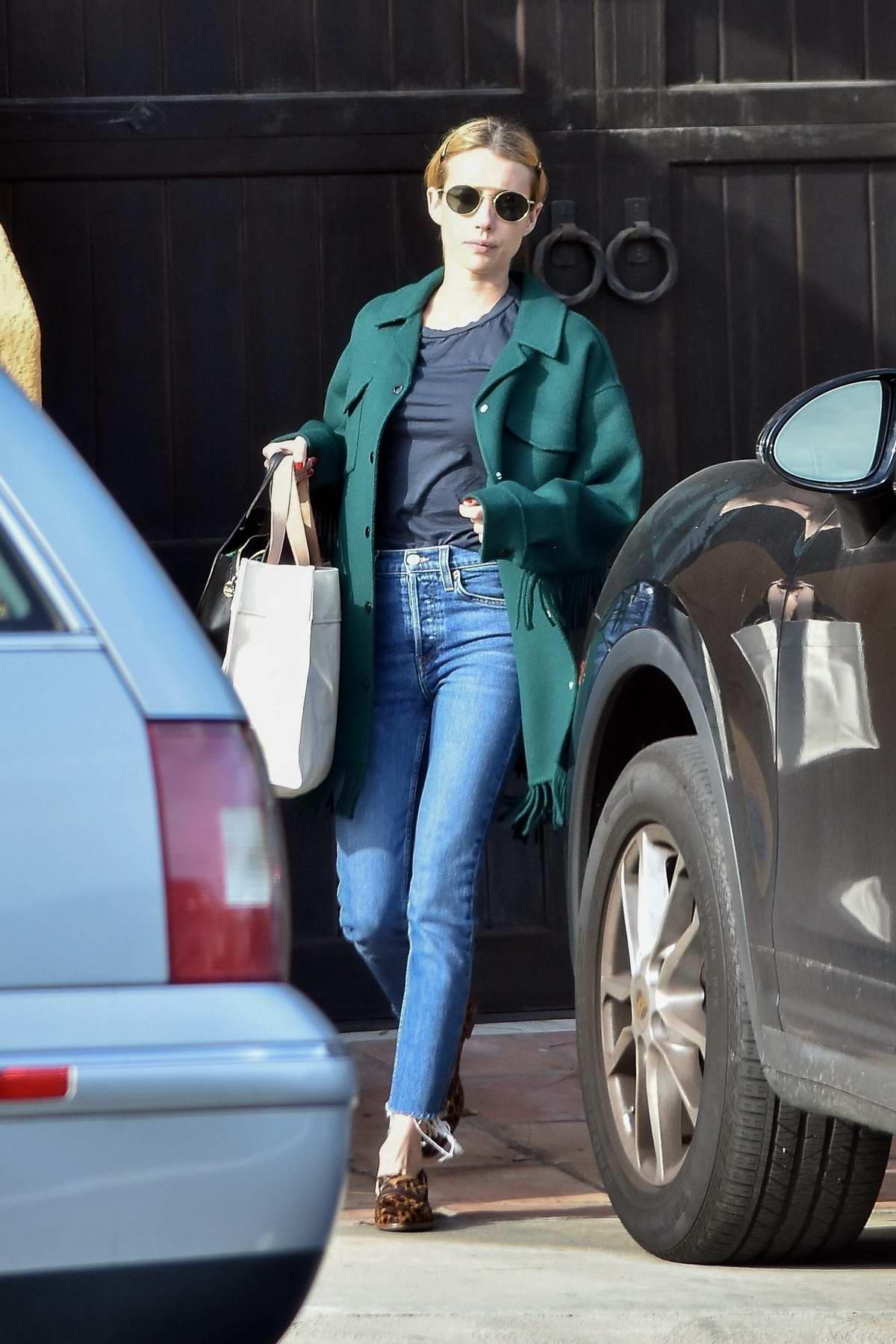 Emma Roberts seen leaving Garrett Hendlund's house in Los Feliz, California