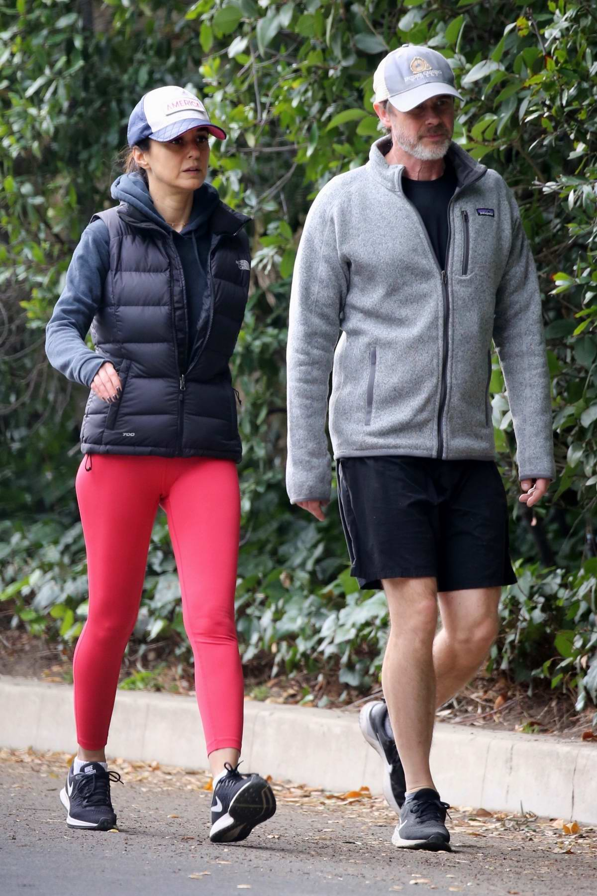 Emmanuelle Chriqui steps out for a hike with Sam Trammell in Hollywood, California